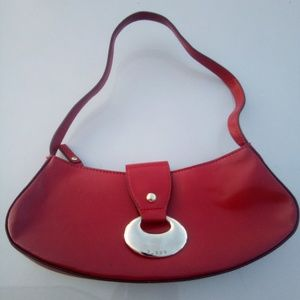 Vtg Red Guess Leather Purse W/Silver Hardware